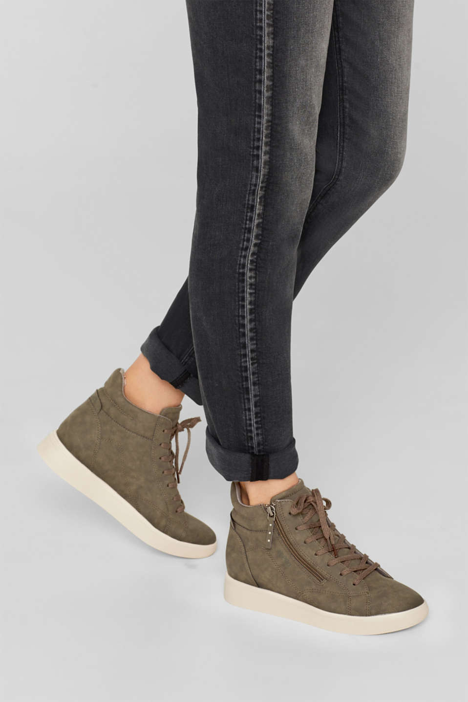 Trainers with a concealed wedge heel, KHAKI GREEN, detail image number 3