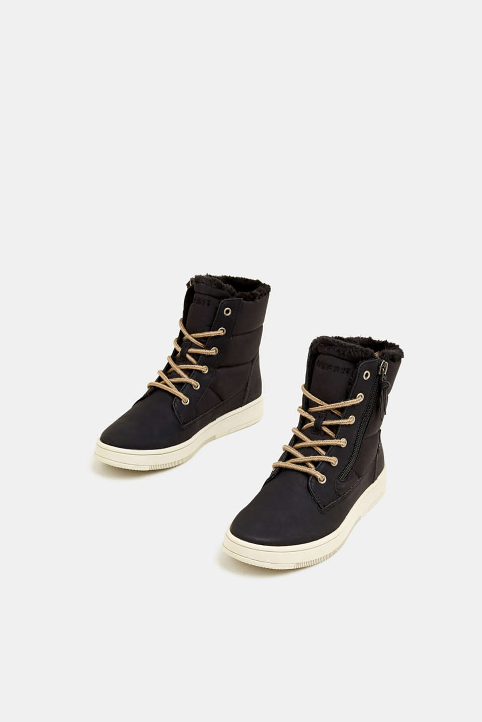 Lace-up boots with faux fur lining, BLACK, detail image number 1