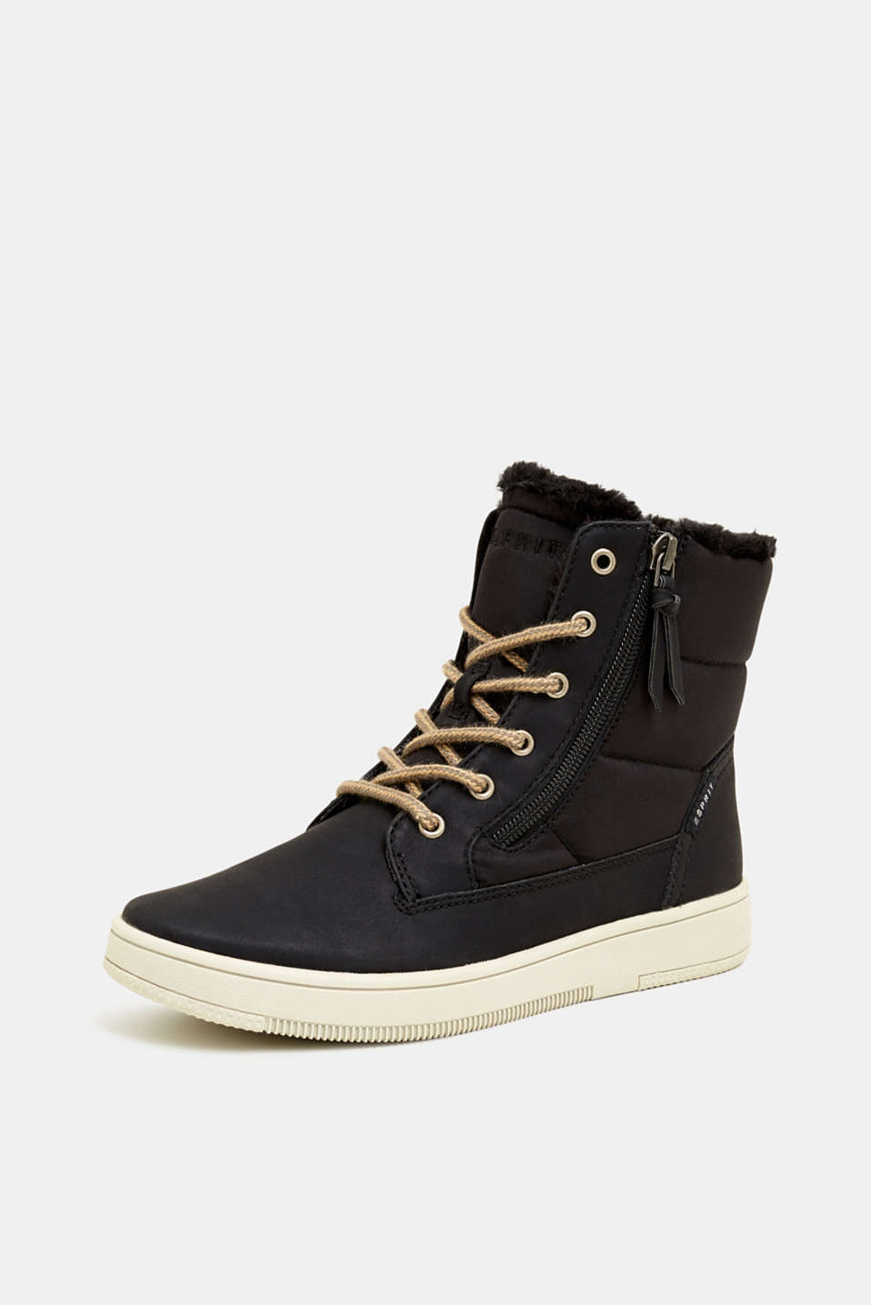 Lace-up boots with faux fur lining, BLACK, detail image number 2