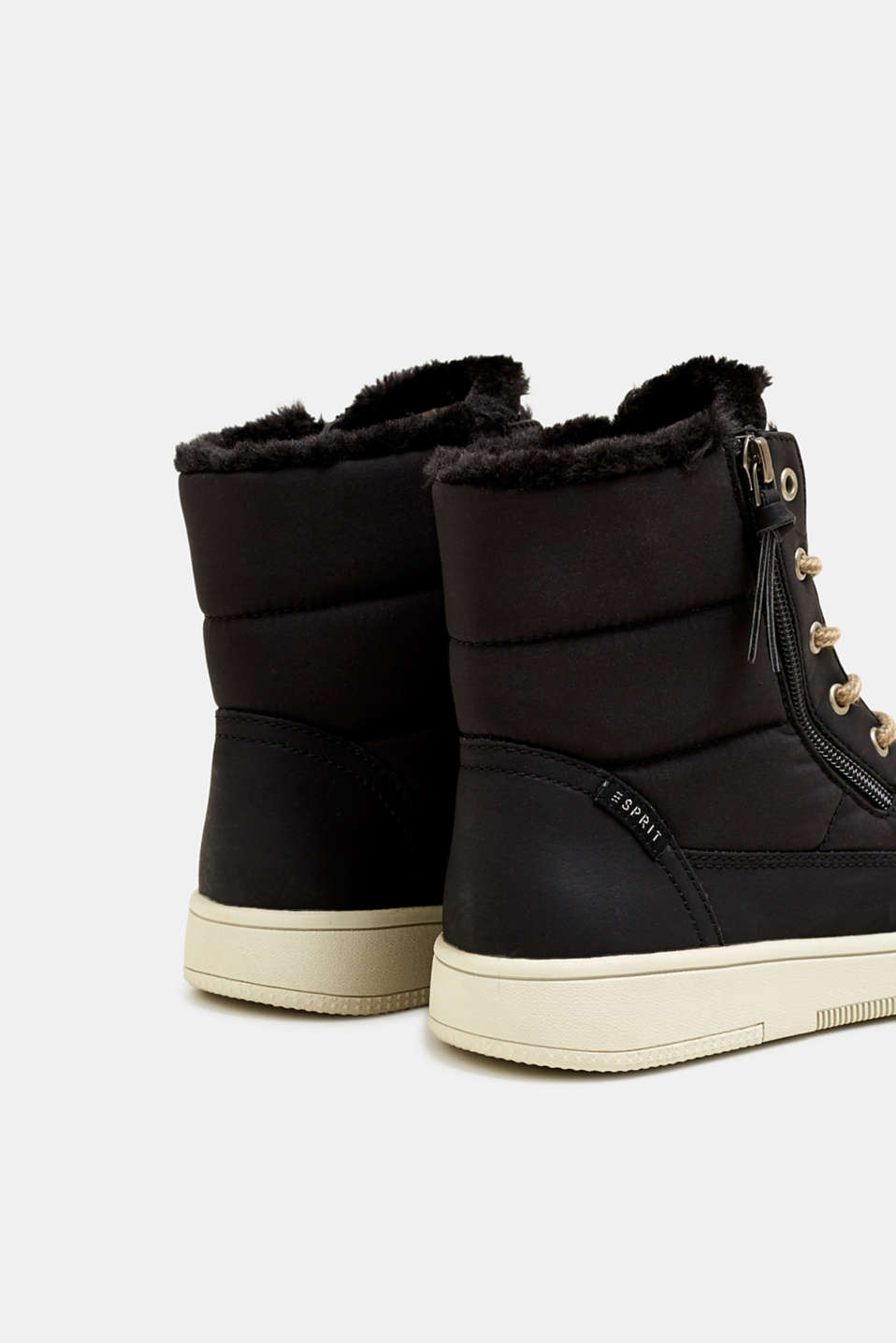 Lace-up boots with faux fur lining, BLACK, detail image number 5