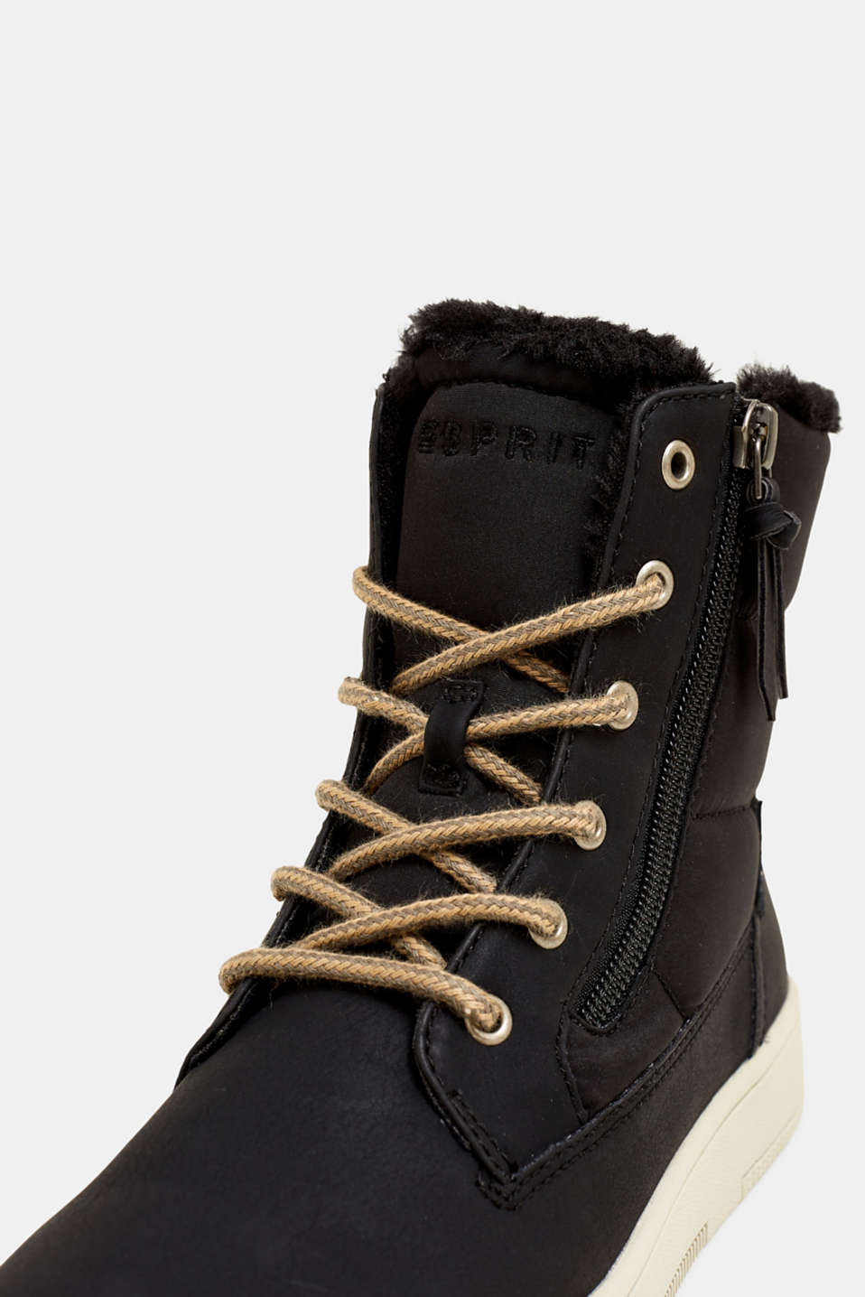 Lace-up boots with faux fur lining, BLACK, detail image number 4