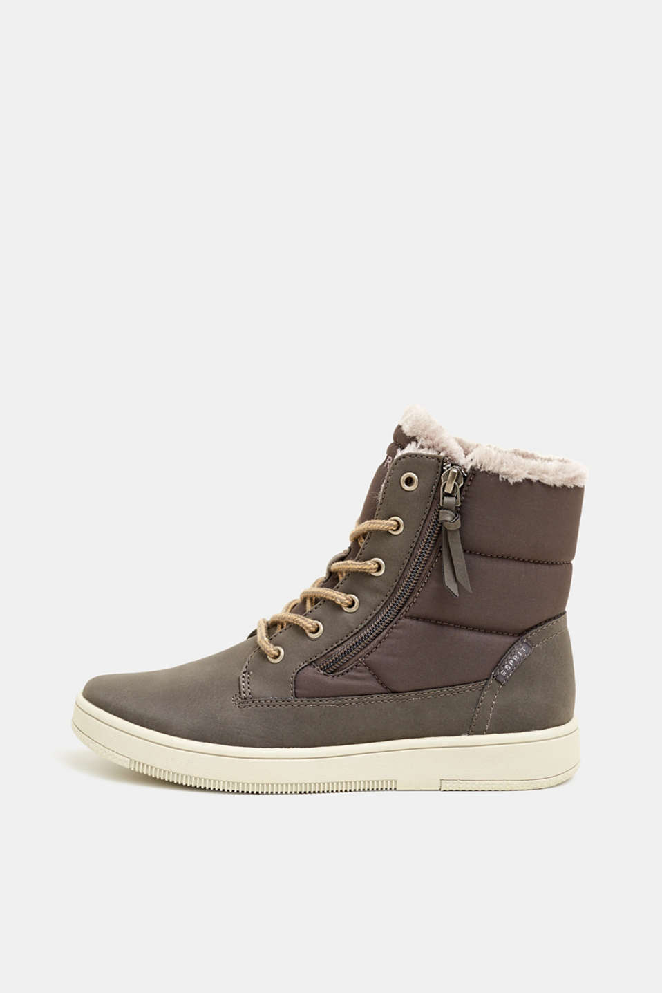 Lace-up boots with faux fur lining, GREY, detail image number 0