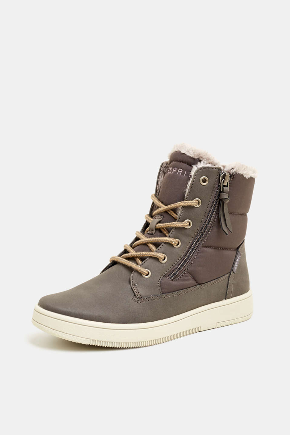 Lace-up boots with faux fur lining, GREY, detail image number 2