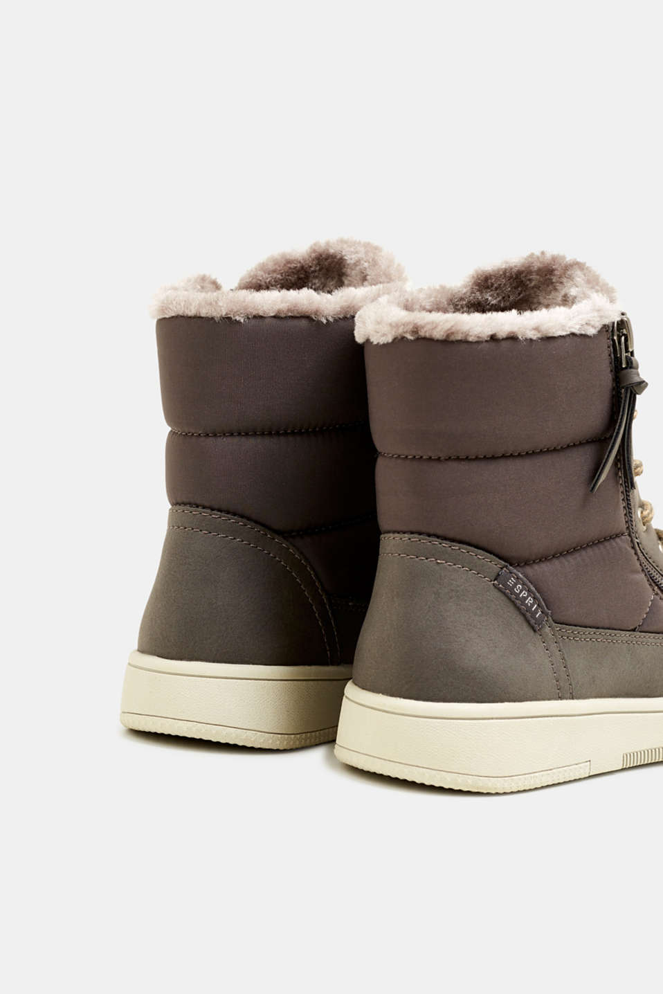 Lace-up boots with faux fur lining, GREY, detail image number 5