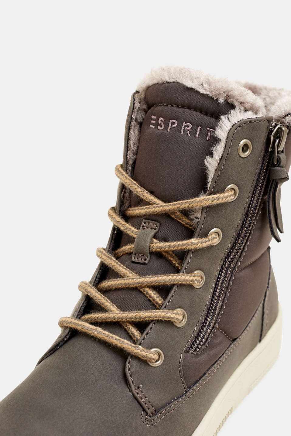 Lace-up boots with faux fur lining, GREY, detail image number 4