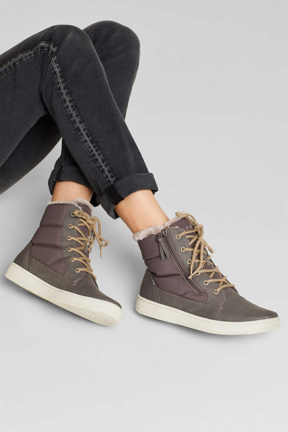 Lace-up boots with faux fur lining, GREY, detail image number 3