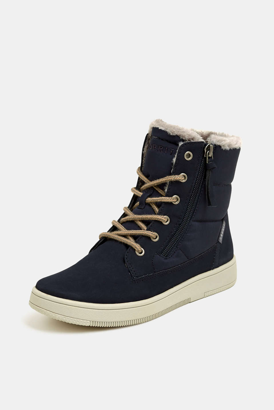 Lace-up boots with faux fur lining, NAVY, detail image number 2