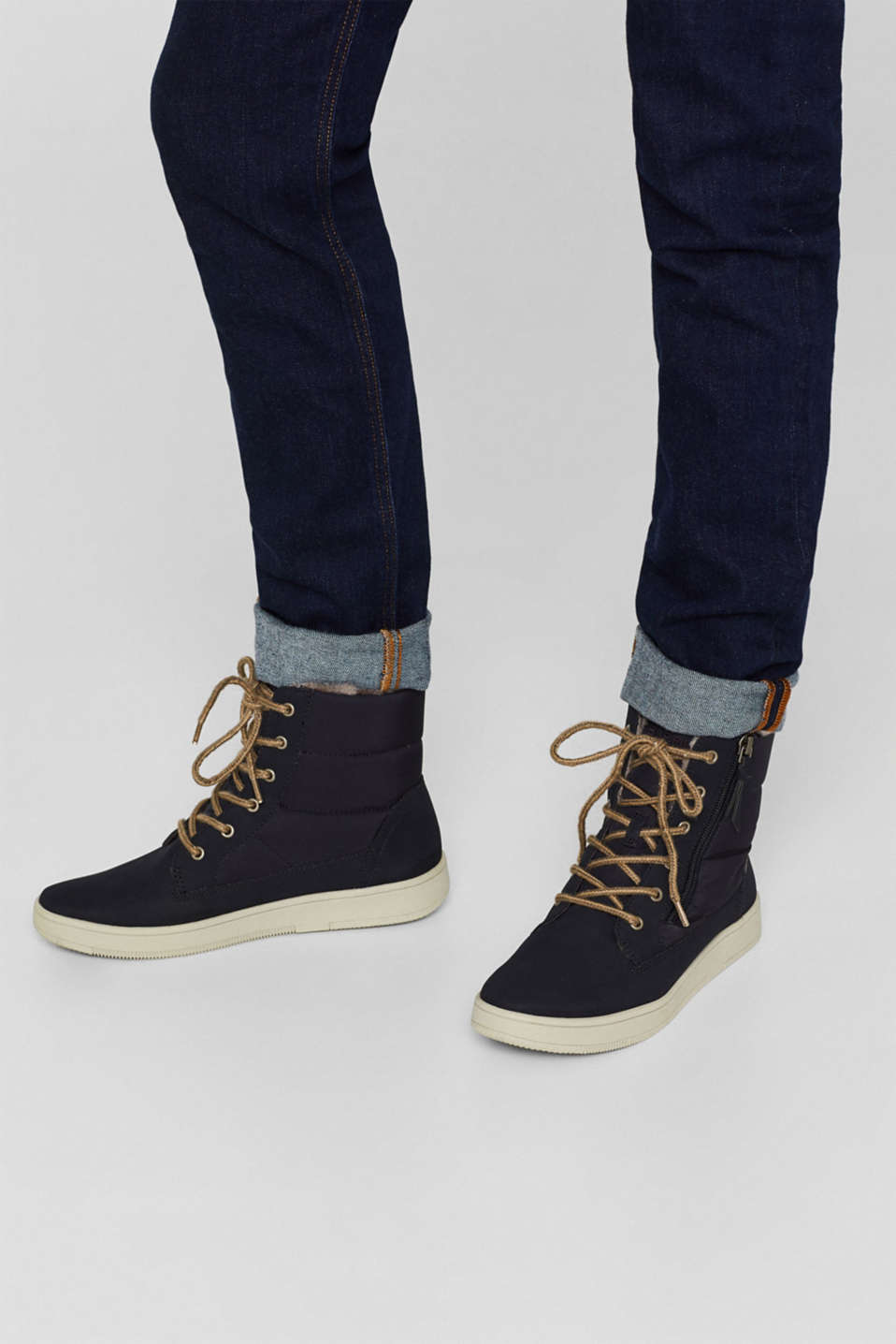 Lace-up boots with faux fur lining, NAVY, detail image number 3