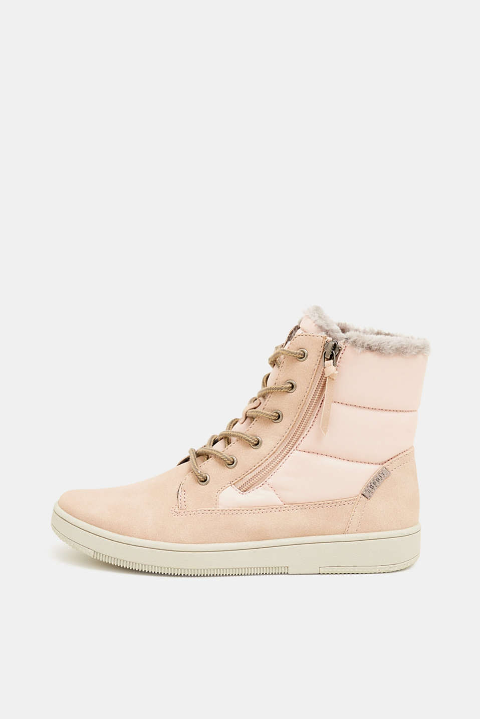 Lace-up boots with faux fur lining, DARK OLD PINK, detail image number 0