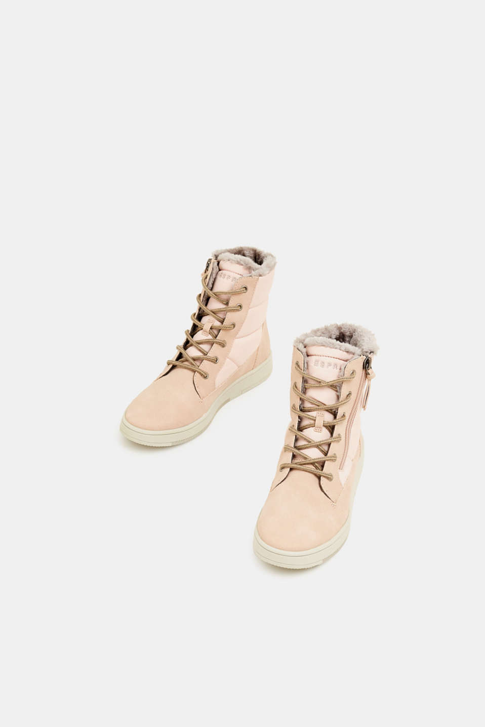 Lace-up boots with faux fur lining, DARK OLD PINK, detail image number 1