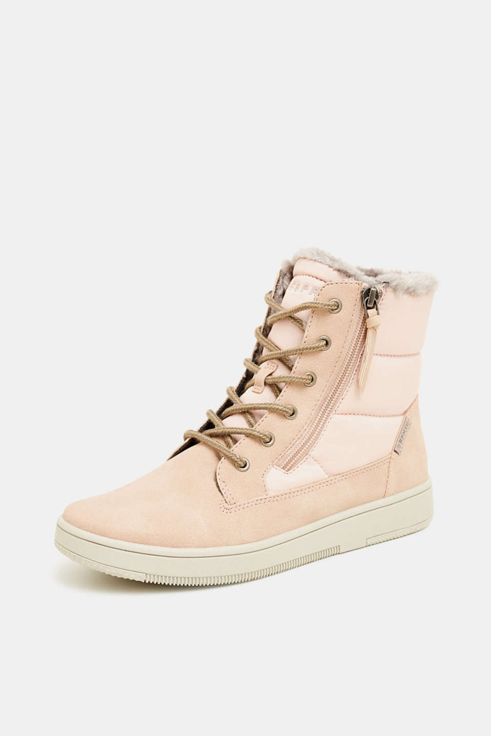 Lace-up boots with faux fur lining, DARK OLD PINK, detail image number 2