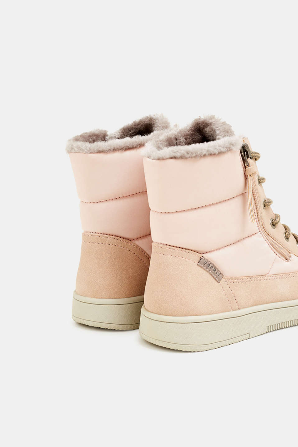 Lace-up boots with faux fur lining, DARK OLD PINK, detail image number 5