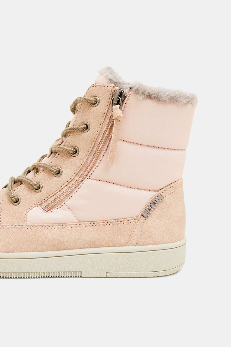 Lace-up boots with faux fur lining, DARK OLD PINK, detail image number 6