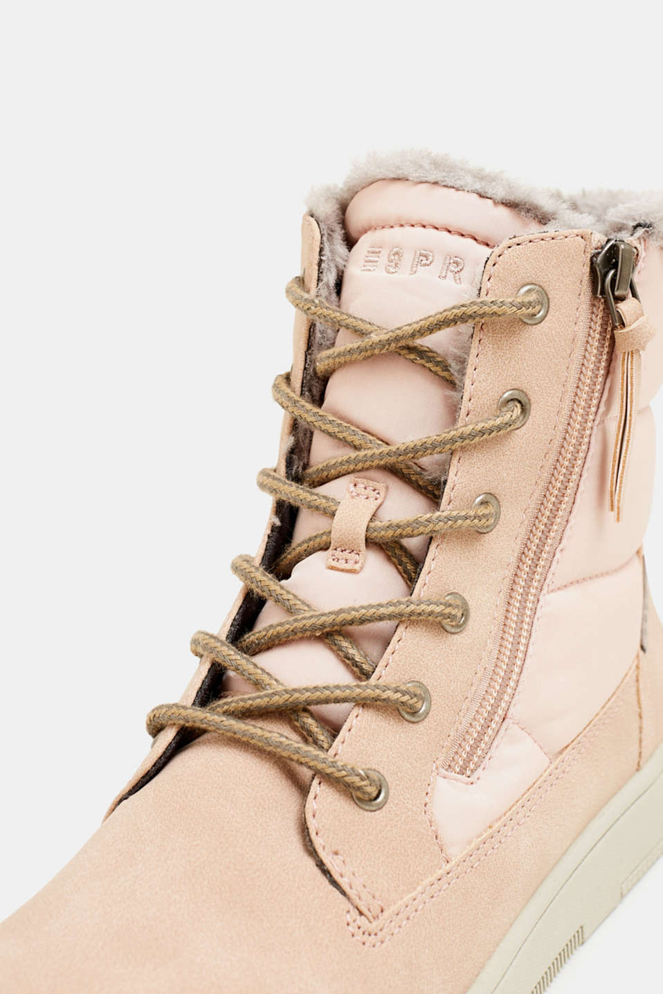 Lace-up boots with faux fur lining, DARK OLD PINK, detail image number 4