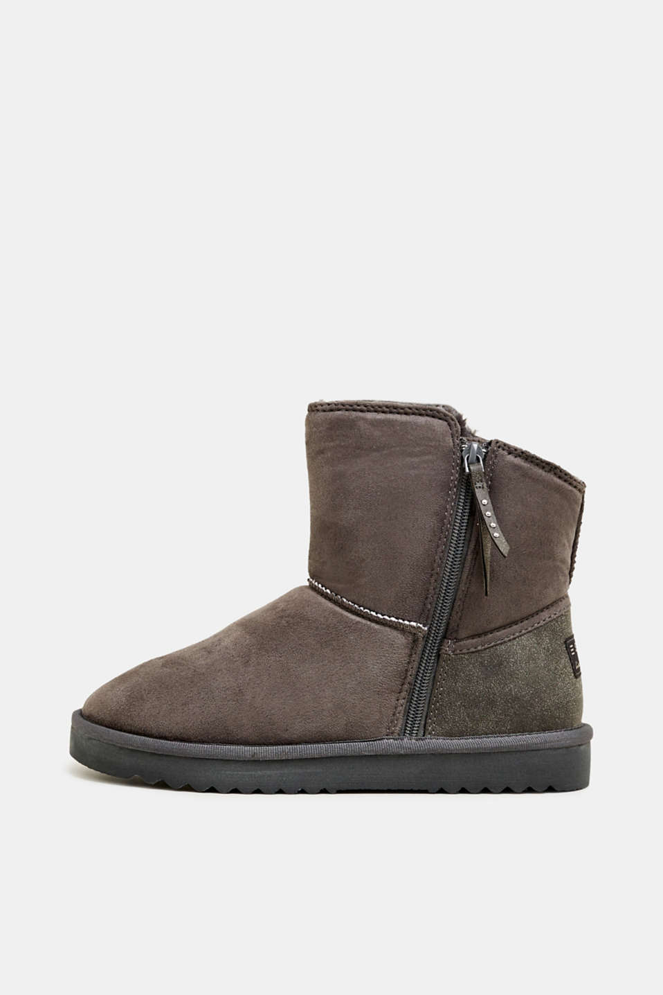 Winter boots with faux fur lining, GUNMETAL, detail image number 0