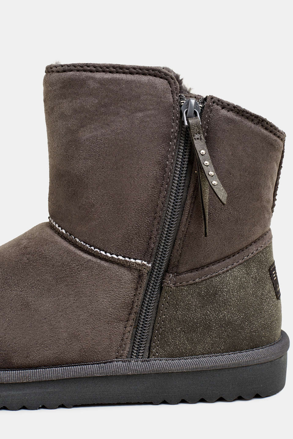 Winter boots with faux fur lining, GUNMETAL, detail image number 4