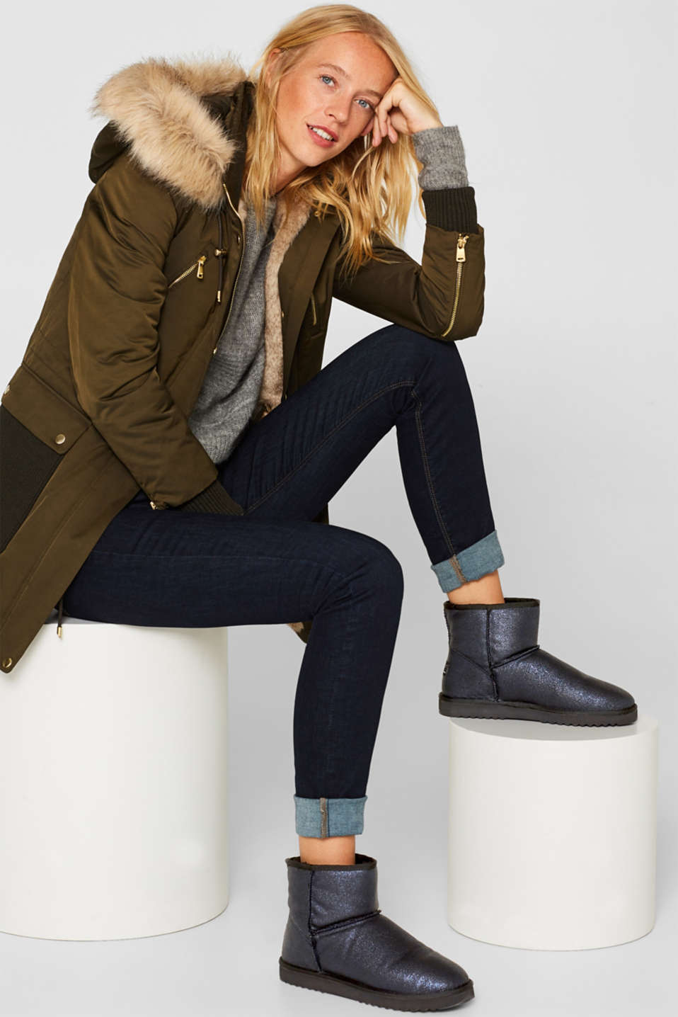 Winter ankle boots with faux fur lining, NAVY, detail image number 2