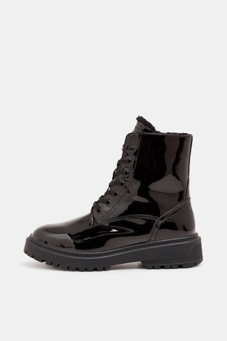 Lace-up boots with a patent finish, BLACK, detail image number 0