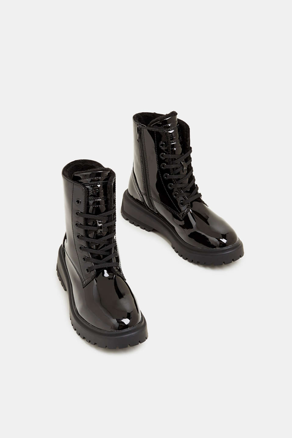 Lace-up boots with a patent finish, BLACK, detail image number 1