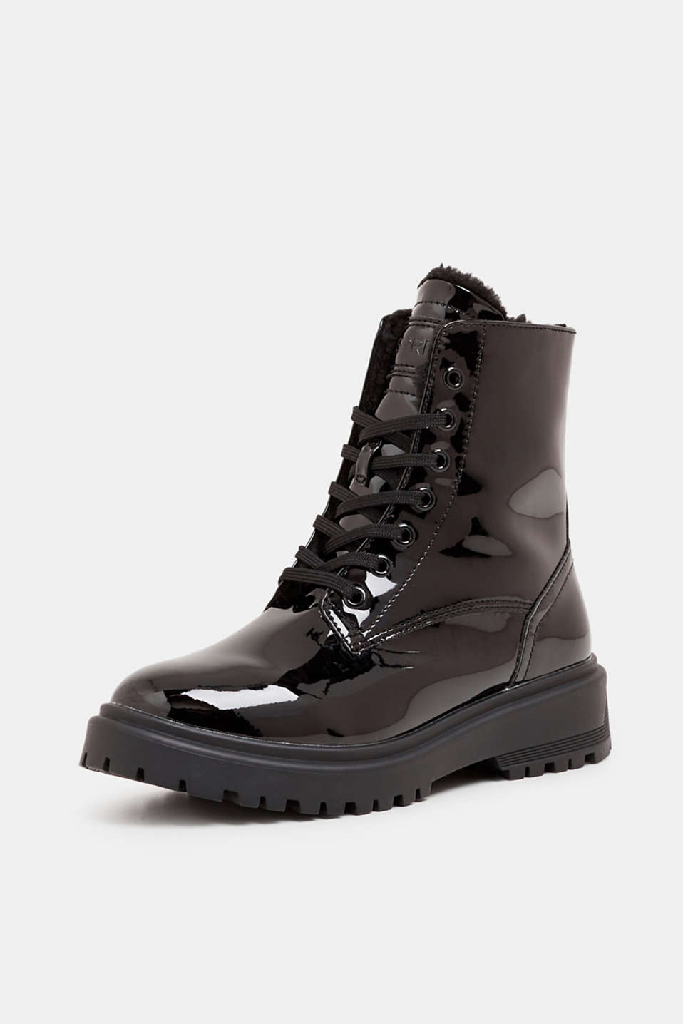 Lace-up boots with a patent finish, BLACK, detail image number 2