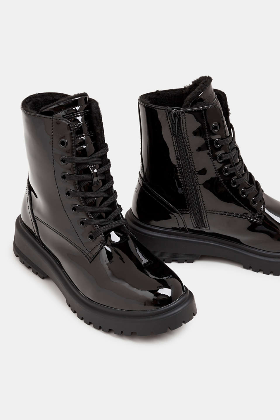Lace-up boots with a patent finish, BLACK, detail image number 4
