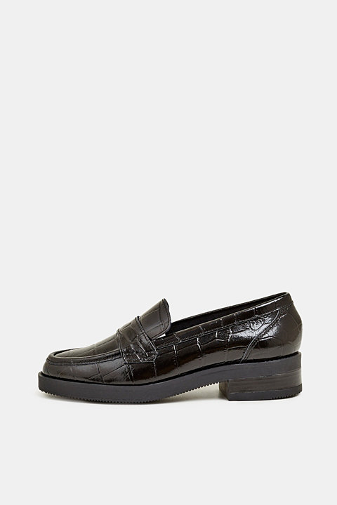 Patent faux snakeskin loafers