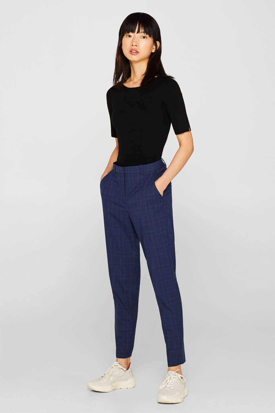 Esprit - Pantalon stretch Mix + Match INK CHECK