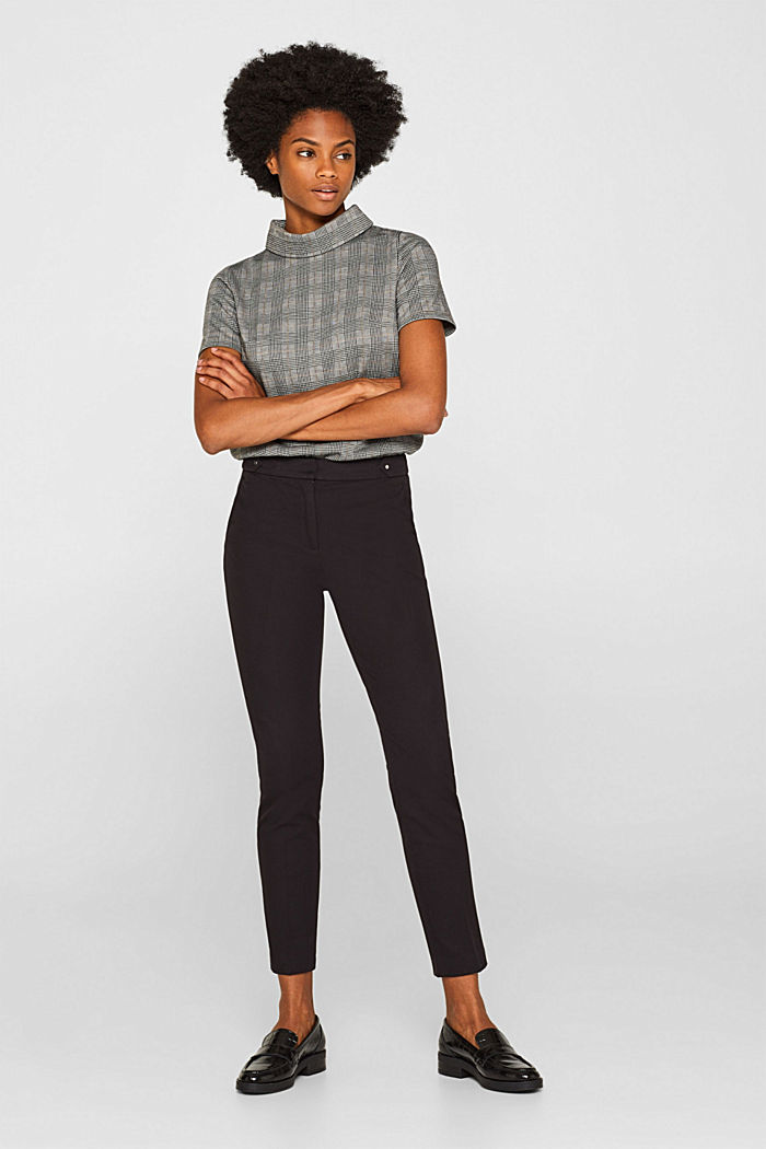 Two-way stretch trousers with waist straps, BLACK, detail image number 0