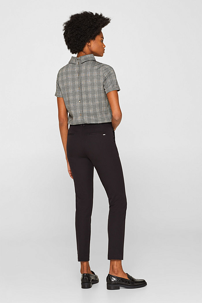 Two-way stretch trousers with waist straps, BLACK, detail image number 3