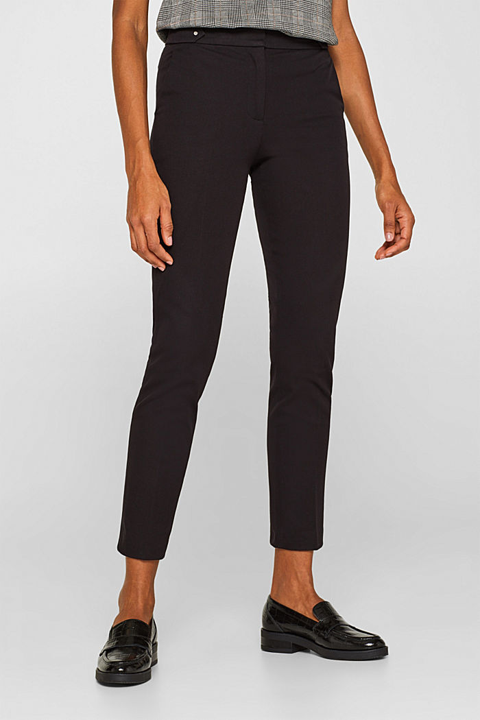 Two-way stretch trousers with waist straps, BLACK, detail image number 6