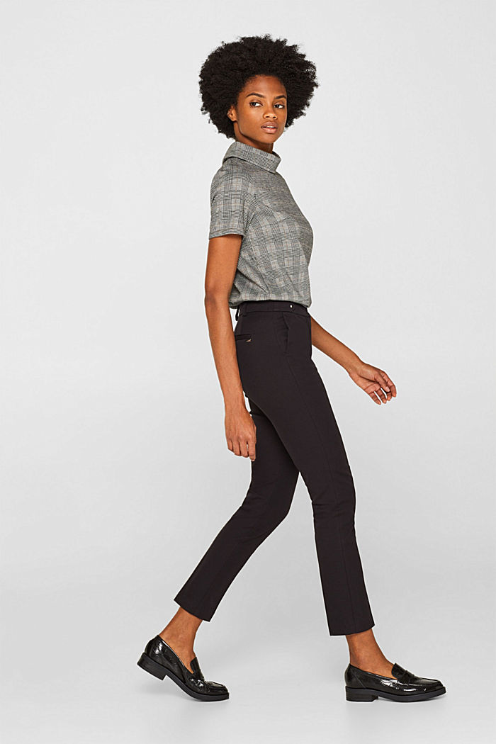 Two-way stretch trousers with waist straps, BLACK, detail image number 1