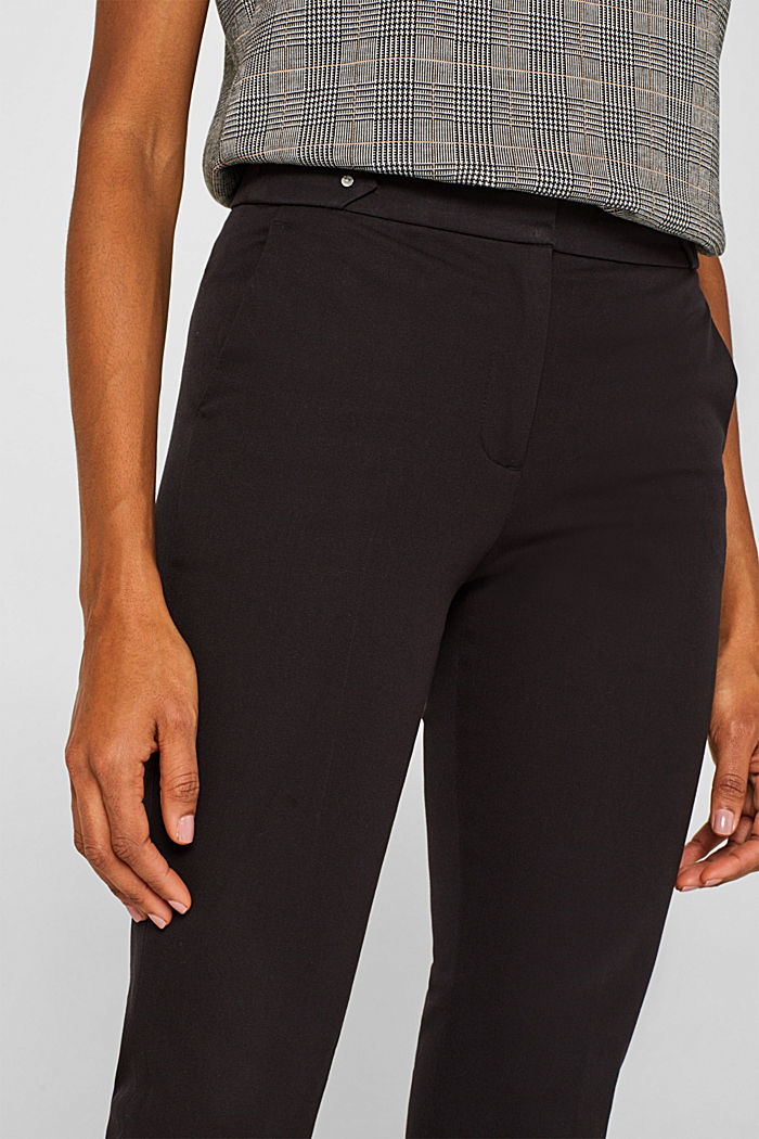 Two-way stretch trousers with waist straps, BLACK, detail image number 2