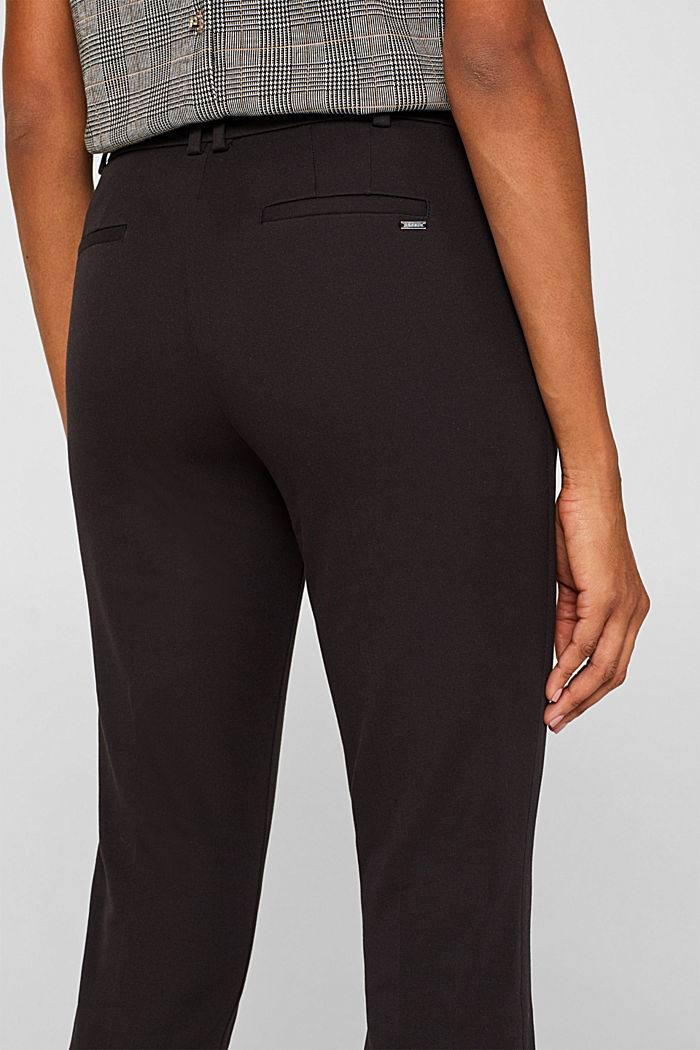 Two-way stretch trousers with waist straps, BLACK, detail image number 5