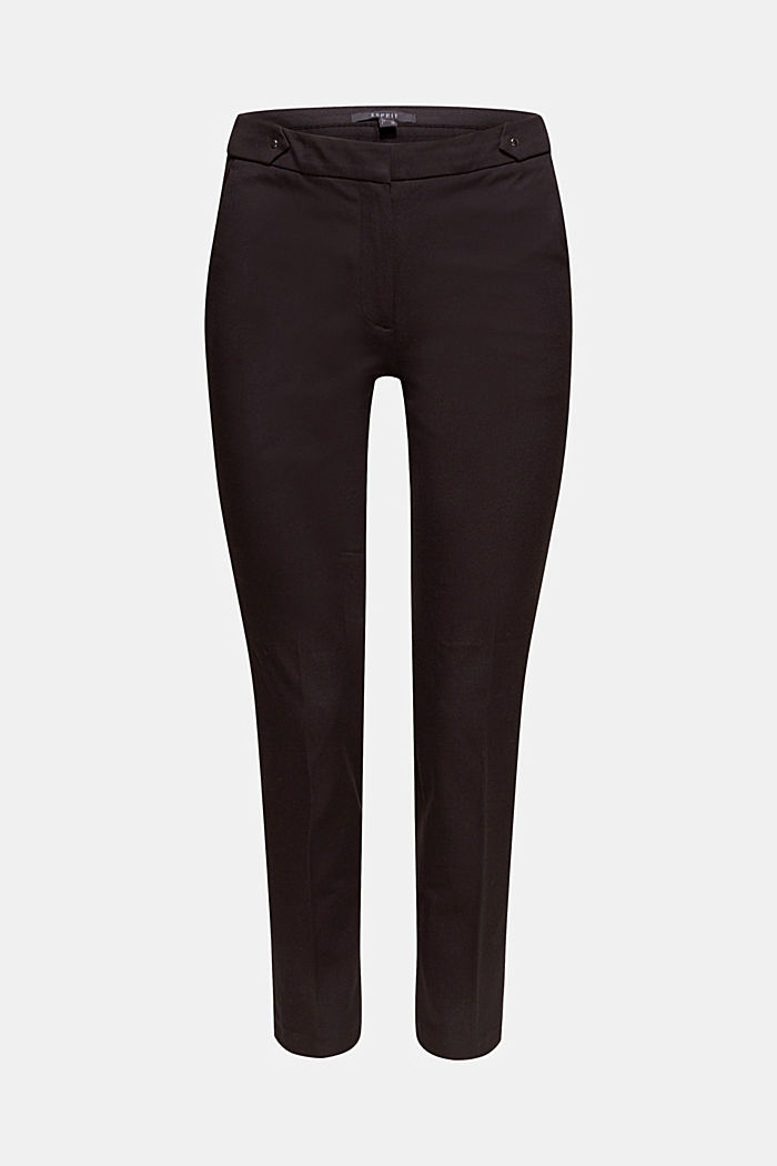 Two-way stretch trousers with waist straps, BLACK, detail image number 7