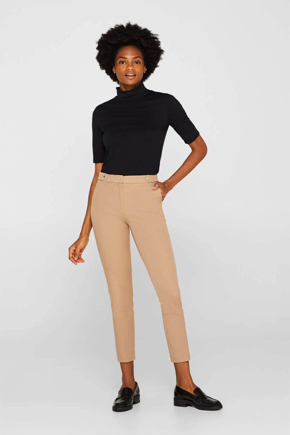 Esprit - Two-way stretch trousers with waist straps