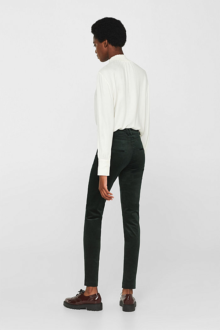 Trousers made of fine stretch corduroy, BOTTLE GREEN, detail image number 3