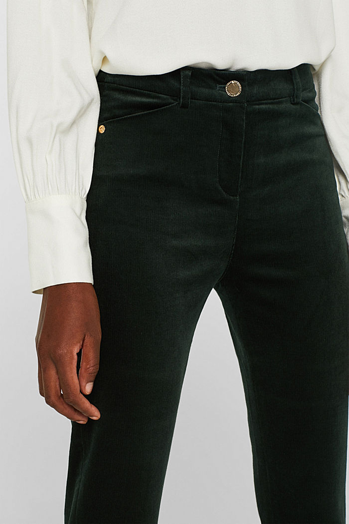 Trousers made of fine stretch corduroy, BOTTLE GREEN, detail image number 2