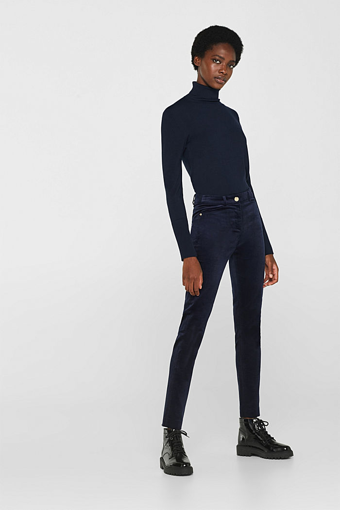 Trousers made of fine stretch corduroy, NAVY, detail image number 0