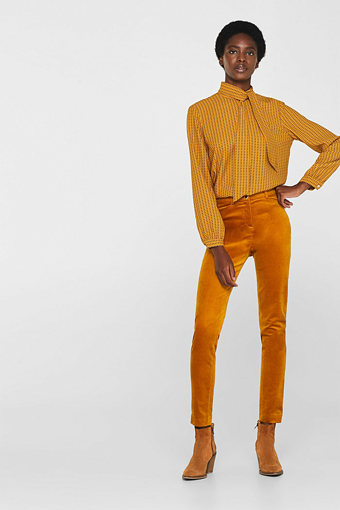 Trousers made of fine stretch corduroy, AMBER YELLOW, detail image number 0