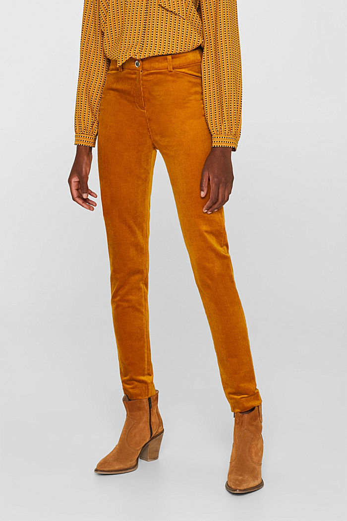 Trousers made of fine stretch corduroy, AMBER YELLOW, detail image number 6