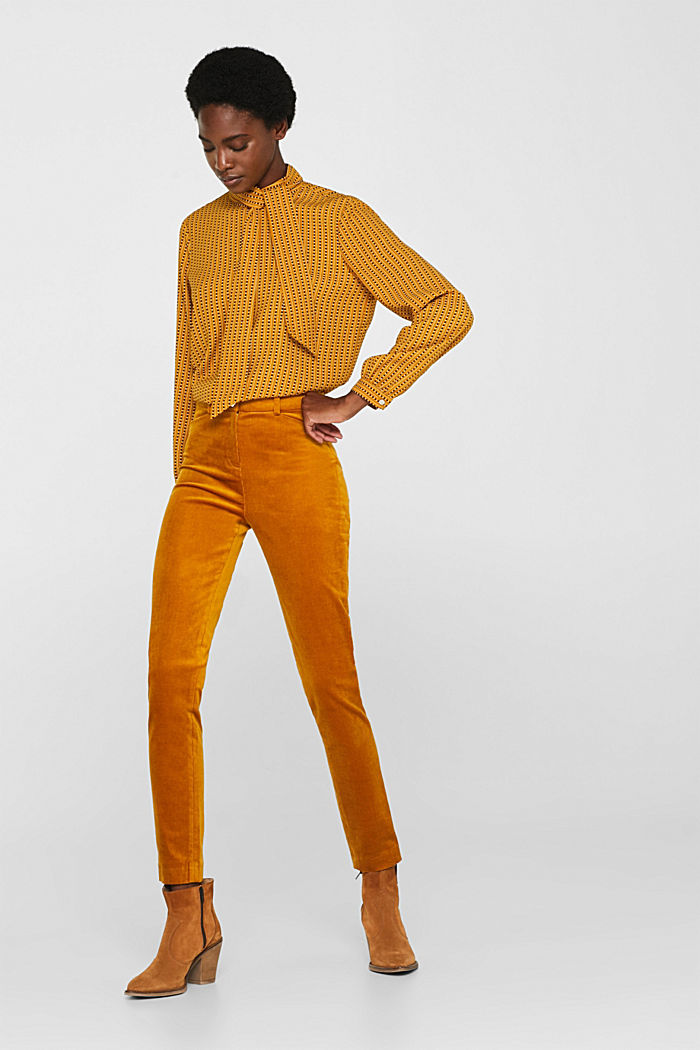 Trousers made of fine stretch corduroy, AMBER YELLOW, detail image number 1