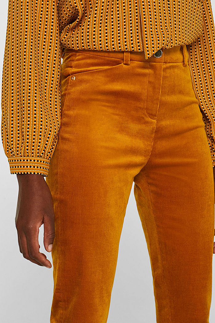 Trousers made of fine stretch corduroy, AMBER YELLOW, detail image number 2