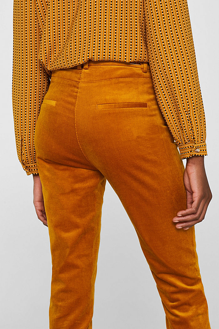 Trousers made of fine stretch corduroy, AMBER YELLOW, detail image number 5