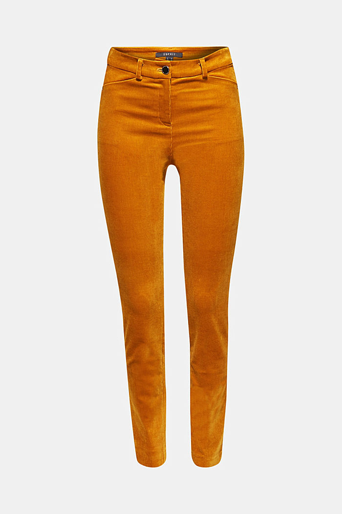 Trousers made of fine stretch corduroy, AMBER YELLOW, overview