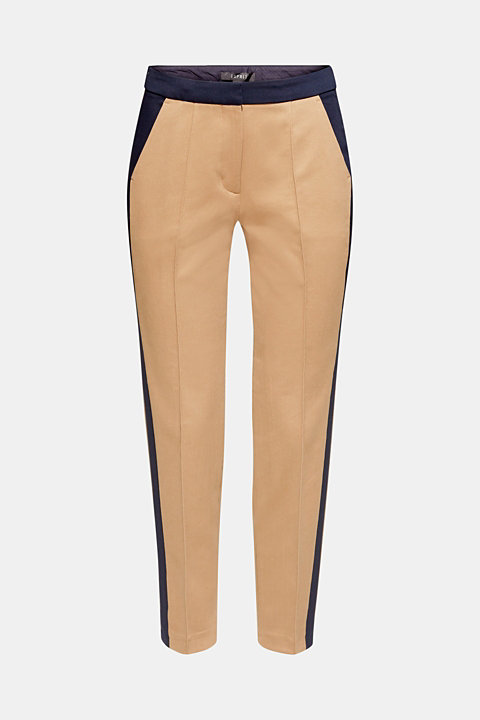 Stretch trousers with tuxedo stripes