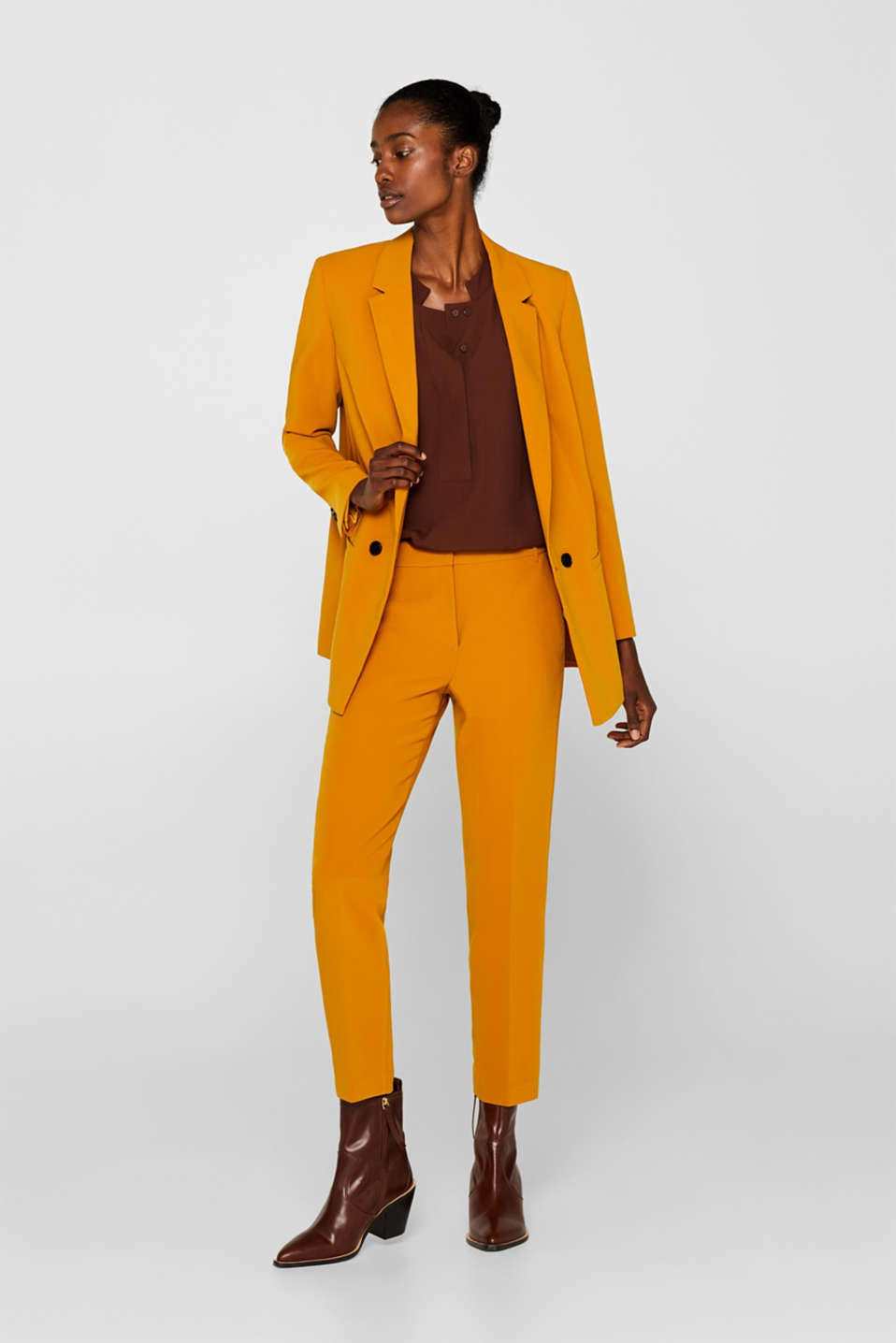 TAILORING Mix + Match stretch trousers, AMBER YELLOW, detail image number 1