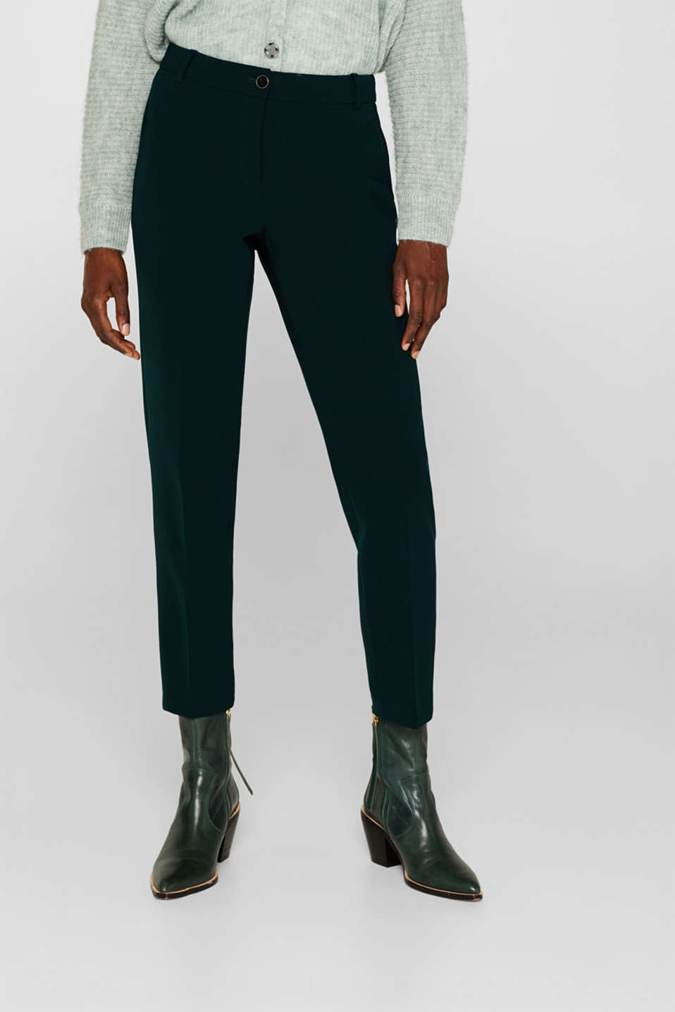 STITCHING mix + match stretch trousers with decorative stitching, DARK TEAL GREEN 2, detail image number 6