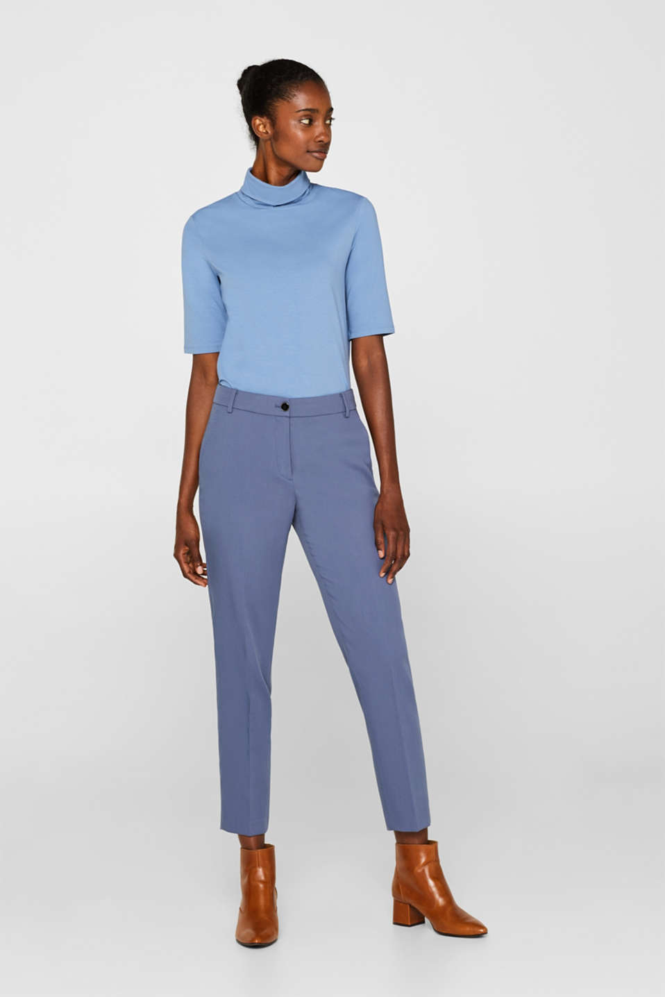 STITCHING mix + match stretch trousers with decorative stitching, GREY BLUE 2, detail image number 0