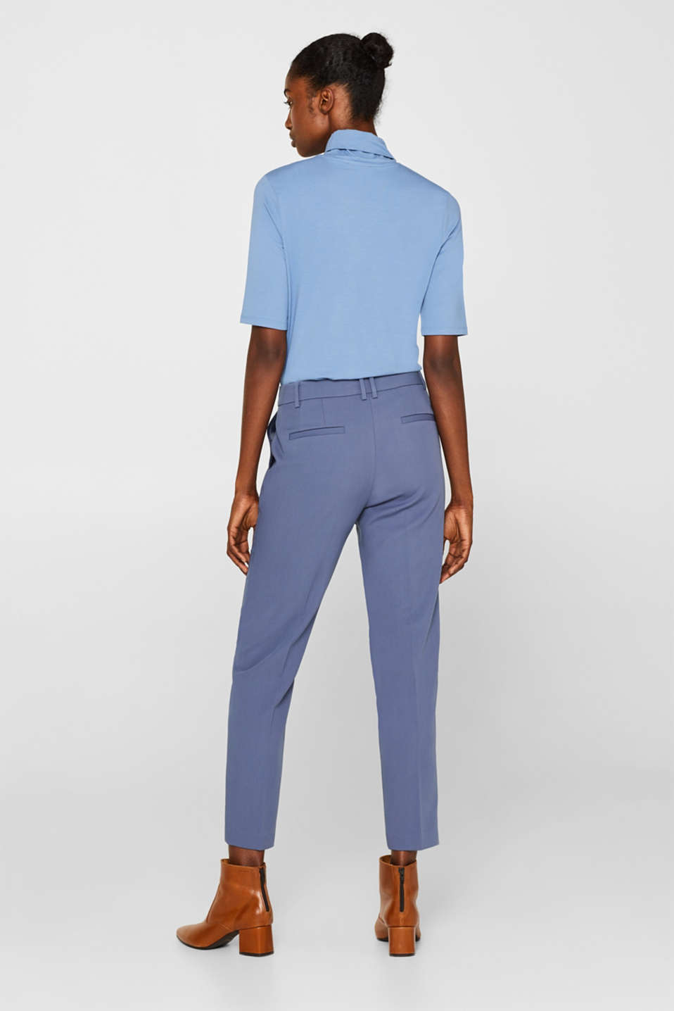 STITCHING mix + match stretch trousers with decorative stitching, GREY BLUE 2, detail image number 3