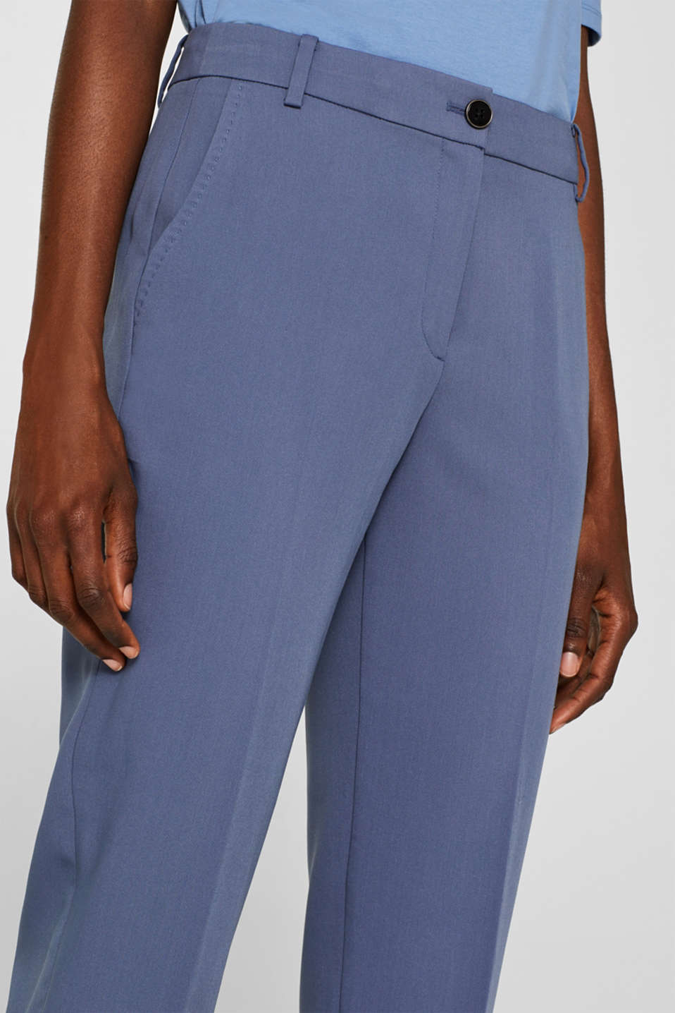 STITCHING mix + match stretch trousers with decorative stitching, GREY BLUE 2, detail image number 2